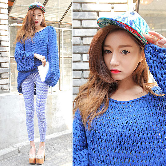 Blue sweater - Sweaters, Weeken, Jeffrey campbell, Weeken, Pants, Weeken, Sora Park, Korea