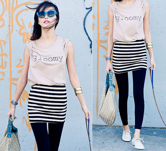 Feeling not Gloomy - Cotton jersey tshirt top, Weeken, Stripe jersey mini skirt, Weeken, Color block sunglasses, Weeken, Hobo bag, Gucci, Sun J, United States