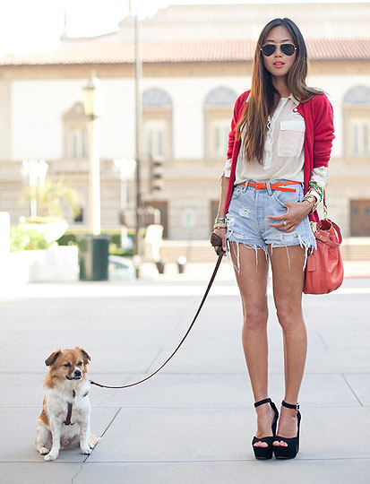 Dashes of Red - Oversized Aviators, Ray-Ban, Heels-wedges, Weeken, Top, Weeken, Coats, Weeken, Aimee Song, United States