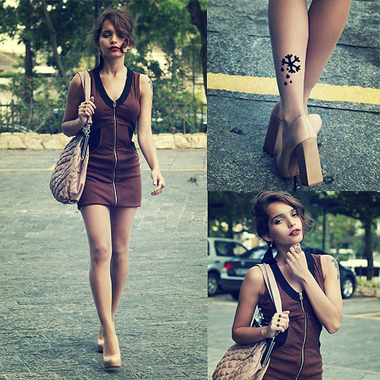 Someday Fades away - Tricot brown dress, Weeken, Snow Flake Stockings, Weeken, Heels-wedges, Weeken, Alana Ruas, Brazil