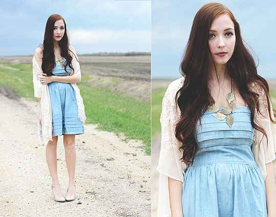 To just grow away - Leaf necklace, Weeken, Periwinkle Blue Dress, Weeken, Lace kimono, Weeken, Breanne S, Canada