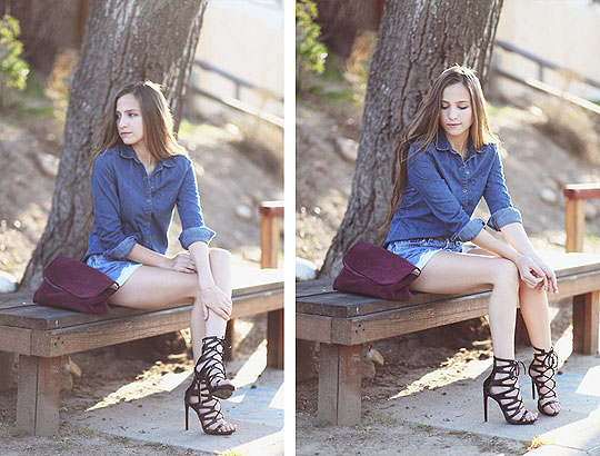 It Might As Well Be Spring - Denim shirt, Weeken, Shorts, Weeken, Heels-wedges, Weeken, Bethany Struble, United States