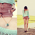 Mint Ice Cream please !! ( + Giveaway ) - Mint sweater, Weeken, Used shorts, Weeken, Point-river shoes, Weeken, Chloe D, France