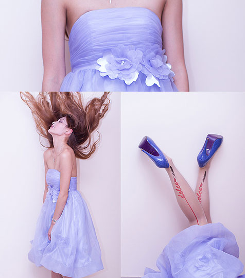 Party Time - Lavender Dress, Weeken, Dolce Stockings, Weeken, Peeptoe Shoes, Weeken, Camille Sioco, Australia