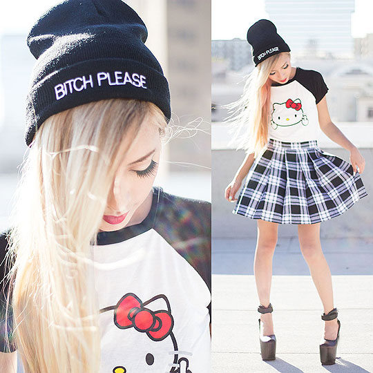 BITCH PLEASE.... - Bitch please beanie, Weeken, Hellofuckyakitty tee, Weeken, As if tartan skirt, Weeken, Mary chain, Weeken, Dominique N., United States