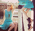 Turquoise - Teal cut-out daisy dress, Weeken, Cat eye sunglasses, Weeken, Necklace and bracelets, Weeken, Carved wedges, Weeken, Elle Ribera, United States