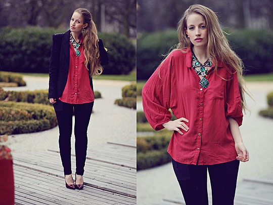 I'm so surprised you wanna dance with me now... - Green statement necklace, Zara, Blouse, Weeken, Pants, Zara, Red Shoes, Weeken, Blazer/Jacket, Zara, Faustine Lara, Germany