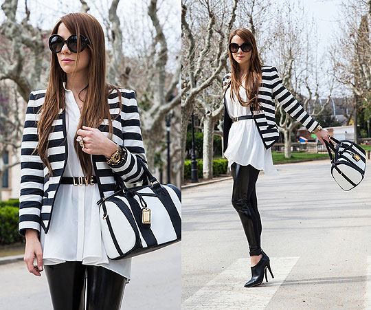 THE HUNTREND: B&W Stripes - Sunglasses, Prada, Blazer, Mango, Shirt, Mango, Leggings, Weeken, Shoes, Mango, Handbag, Weeken, Guiri Uribe, Spain