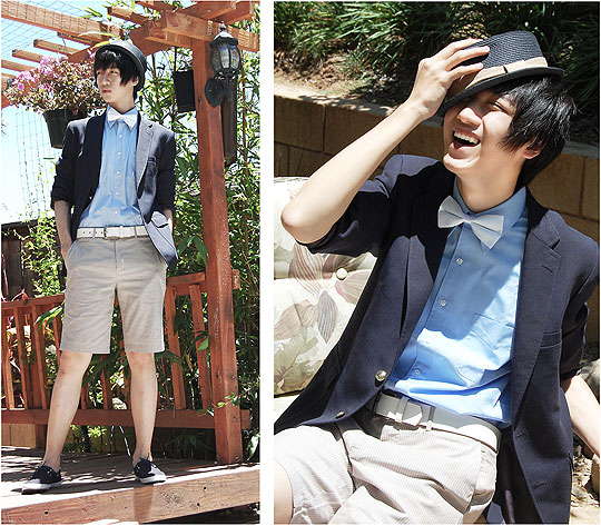 It's summer.. so just laugh it out. - Flat-top fedora, Forever21, Blue button-up shirt, Weeken, Navy blue blazer, Weeken, Brown-striped shorts, Forever21, White belt, Weeken, Kei Pham, United States