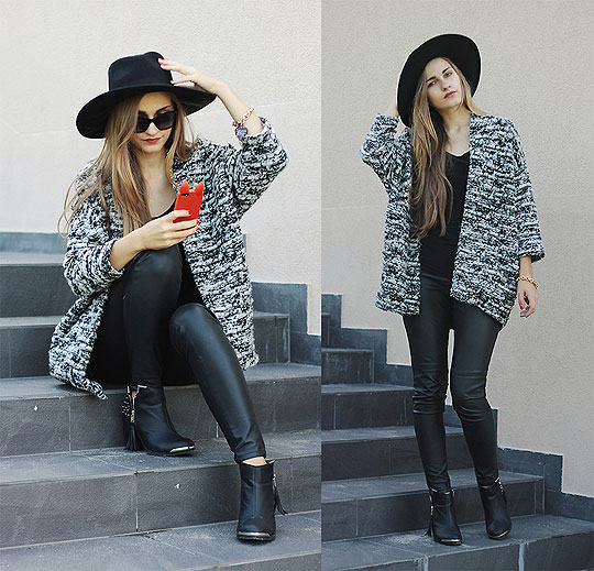 STUDDED BOOTS AND ROUND HAT - Sweaters, Weeken, Pants, Weeken, Flats, Weeken, Karolina Sabała, Poland