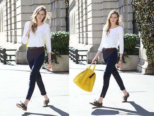 It's Spring Somewhere - Striped Tee, Gap, Pants, American Apparel, Leather Tote, Gap, Suede Shoes, Weeken, Leslie K, United States