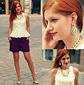 Mermaid - Peplum top, Weeken, Purple tweed shorts, H&M, Mermaid earrings, Weeken, Mirka Germanova, Slovakia