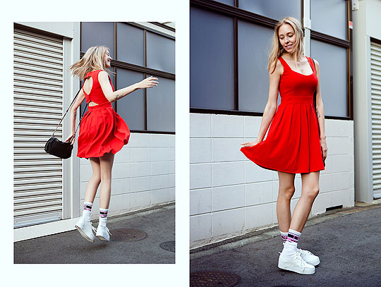 Lady in Red. - Red dress, Weeken, Knee high socks, Vans, BAGS, Weeken, Martina M, Finland