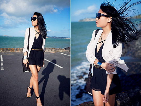 Windswept. - Blazer, H&M, Bag, Alexander Wang, Day 2 sandals, Weeken, Marcella L, New Zealand