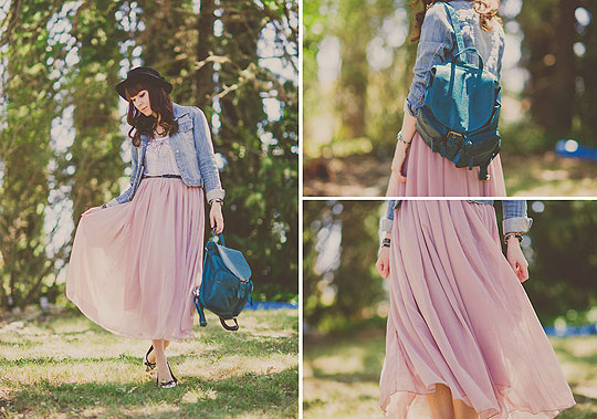 Lavender Adventure - Oasap maxi skirt, Weeken, Backpack, Weeken, Hat, H&M, Silver flats, Weeken, Michelle Elizabeth R, United States