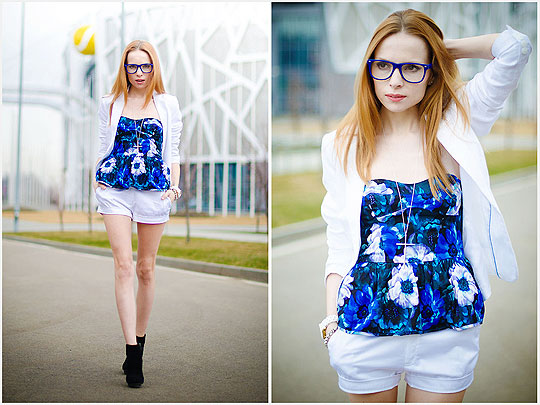 Blue top - Top, Weeken, Blazers, H&M, Shorts, Weeken, Tini Tani, Russian Federation