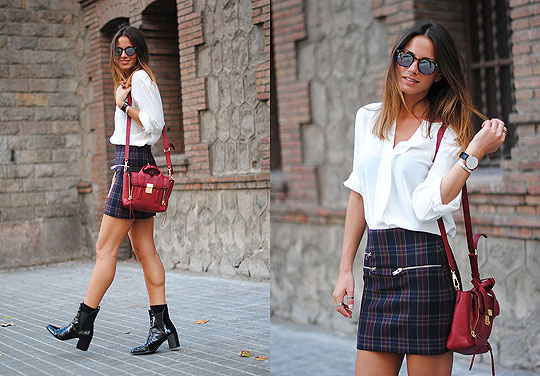 Checks - Bag, 3.1 Phillip Lim, Skirt, Zara, Heels-wedges, Weeken, Zina CH, Spain