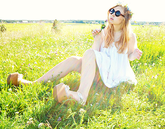 Midsummer Fields - Flower Crown, Weeken, Sunglasses, Weeken, Dress, Weeken, Platform Shoes, Weeken, Amanda Brohman, Sweden