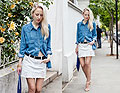 Double denim - Zara shirt, Zara, New Look denim skirt, New Look, Givenchy bag, Givenchy, Zara heels, Zara, Nixon watch, Weeken, Alice Mary, United Kingdom