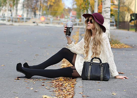 GIVE ME COFFE, KING-SIZED CUP - SUSPENDER TIGHTS, Pretty Polly, ALLYY PUMPS, Steve Madden, Sweaters, Weeken, Anna Wiklund, Sweden