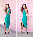 A Perfect Harmony - Song of Style, Green Asymmetrical Dress, Weeken, Lace Up Heels, Weeken, Rocco Bag, Alexander Wang, Bracelets, Weeken, Aimee Song, United States