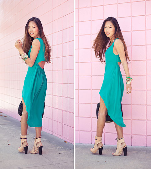 A Perfect Harmony - Song of Style, Aimee Song, Green Asymmetrical Dress, Weeken, Lace Up Heels, Weeken, Rocco Bag, Alexander Wang, Bracelets, Weeken, Aimee Song,