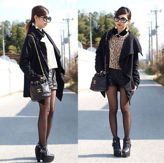 Leo×black - Bag, Chanel, Leo print knit, Weeken, Heels-wedges, Weeken, Asami Takata, Japan