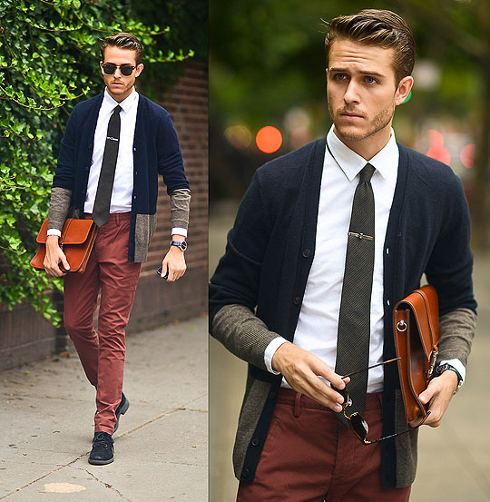 Two Toned - Cardigan, Weeken, Tie bar, Weeken, Satchel, Weeken, Clubmasters, Weeken, Trousers, Weeken, Adam Gallagher, Canada
