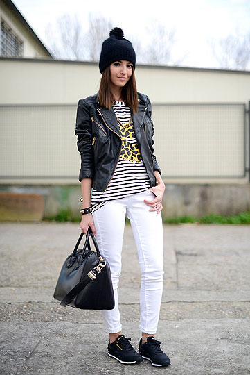 Black & white monday - Leather jacket, Mango, T-shirt, Weeken, Bag, Givenchy, Sneakers, Reebok, Beanie, H&M, Jeans, Weeken, Alexandra Per, Spain