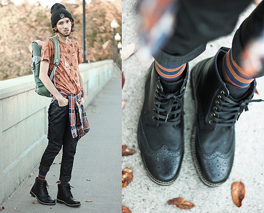 Autumn Hikes - Graphic Tee, Weeken, Striped Socks, Weeken, Dream Catcher Necklace, Weeken, Beanie, Weeken, Colour Block Backpack, Weeken, Rail Slickback Jeans, Weeken, Black Leather Boots, Weeken, Bobby Raffin, Canada