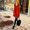 Red/black - Sweater, H&M, Bag, Weeken, Pants, Zara, Carolina Engman, Sweden