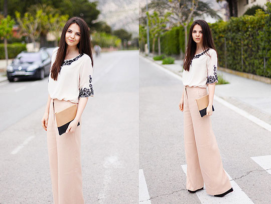 European LA - Queen's Wardrobe dress, Weeken, Clutch, Celine, Wide peach pants, Stella McCartney, Wedges, Weeken, Doina Ciobanu, Canada