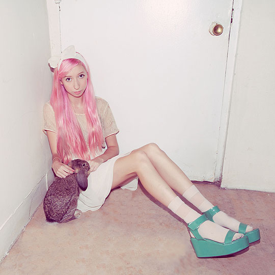 Bubble Gum Pink & Mermaid Green - Lace top, American Apparel, Chiffon skirt, American Apparel, Aqua platforms, Weeken, Elle Ribera, United States
