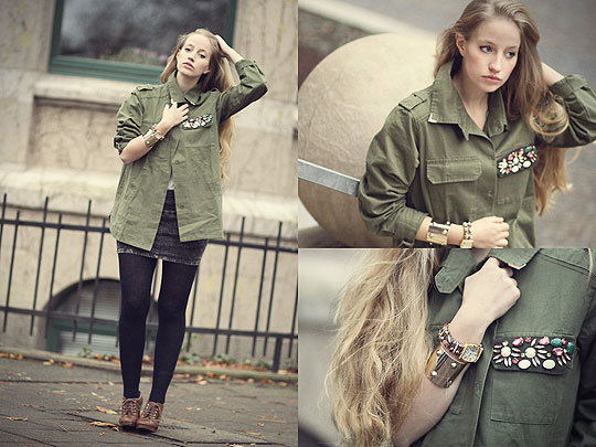 Like Autumn Leaves - Green Parka Rhinestone Pocket, Weeken, Skirt (studded), Zara, Leggins, H&M, Shoes, H&M, Mulitcoloured watch, Weeken, Bangle, H&M, Faustine Lara, Germany