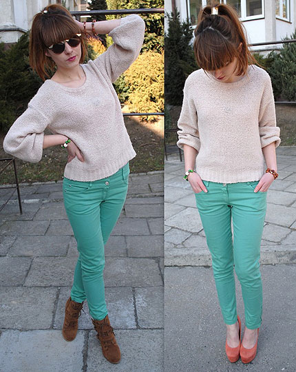Mint pants :) - Sweaters, Weeken, Pants, Weeken, Boots, Semir, Heels-wedges, Weeken, Hannnah P, Poland