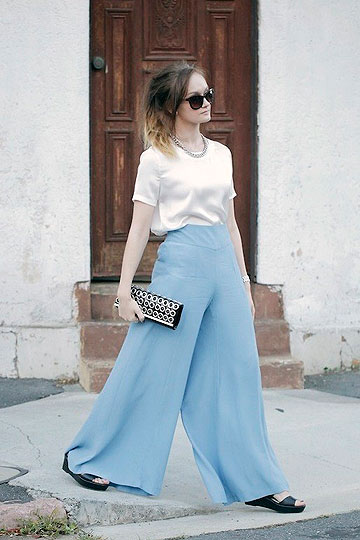 BETTER DAYS - White Silky T-Shirt, Weeken, Pastel Blue Palazzo Pants, ASOS, Heels-wedges, Weeken, Izzy Bea, Australia
