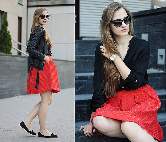 Red skirt - Coats, Weeken, Skirts, Weeken, Top, Weeken, Flats, Weeken, Karolina Sabała, Poland