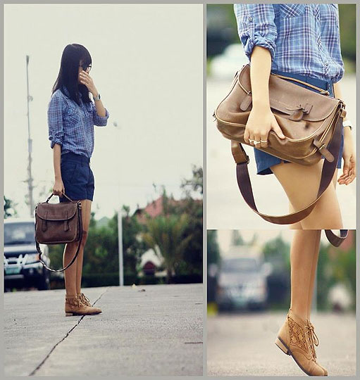 Plaid and Boots - Plaid Polo, Mango, Blue, Weeken, Boots, Weeken, Vintage Satchel, Club Monaco, Stacked Rings, Weeken, Lai Serrano, Philippines