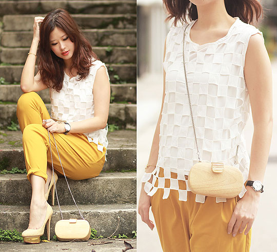 Let's play chess - Checker cut out top, Weeken, Wooden box purse, Weeken, Mustard harem pants, Weeken, Heels-wedges, Weeken, Mayo Wo, Hong Kong