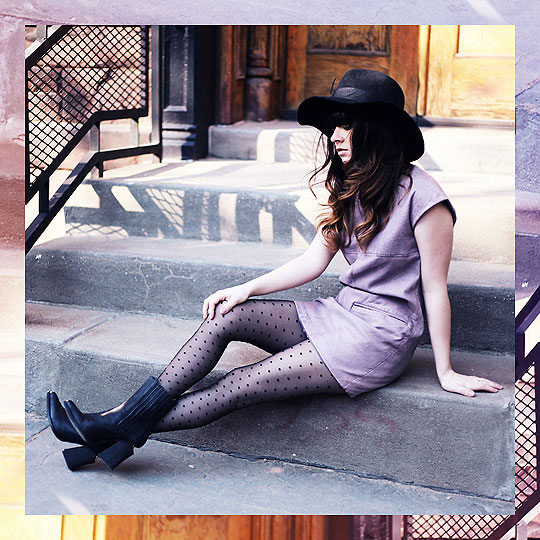 Lilac leather. - Lilac leather dress, Weeken, Wool hat, Forever21, Polka dot tights, Topshop, Bueno boots, Weeken, Rachel-Marie I, United States