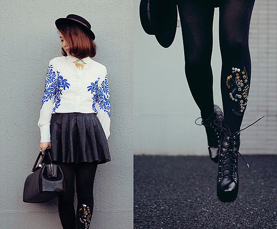 Amazing embroidery shirt & tights - Boots, Weeken, Tigths, Weeken, Bags, Weeken, Shirts, Weeken, Skirts, Weeken, Shan Shan, Japan