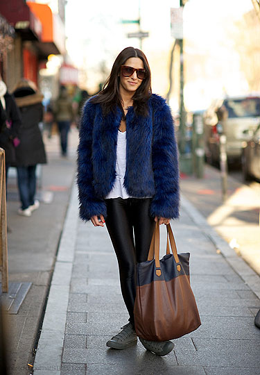 Faux - Faux fur coat, Forever21, Leggings, American Apparel, Tote, H&M, Shoes, Weeken, Tess Pare-Mayer, United States