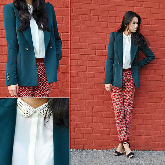 Geometry Lessons - Structured blazer, Zara, Patterned pants, H&M, Studded peter pan blouse, H&M, Strappy heels, Zara, Trang Huyen, United States