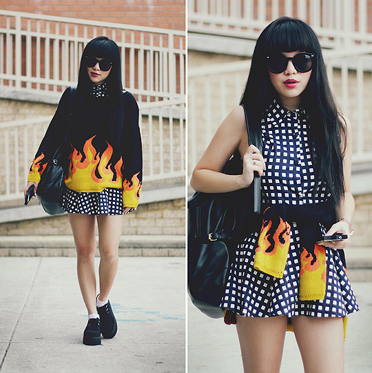 Burning - Flame knit sweater, Weeken, Two piece grid/checkered top and skirt, Weeken, Black suede creepers, Weeken, Leather backpack, Weeken, Willabelle Ong, Australia