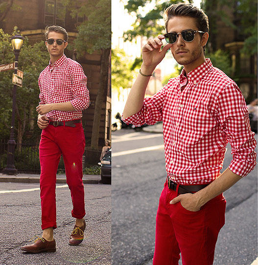 Red Hot - Check shirt, Weeken, Red trousers, Weeken, Spike bracelet, Weeken, Oxfords, Weeken, Adam Gallagher, Canada