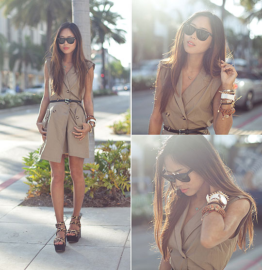 Rodeo Drive - Sleeveless Trench Dress, Weeken, Sideway Cross Necklace, Weeken, Heels-wedges, Weeken, Aimee Song, United States
