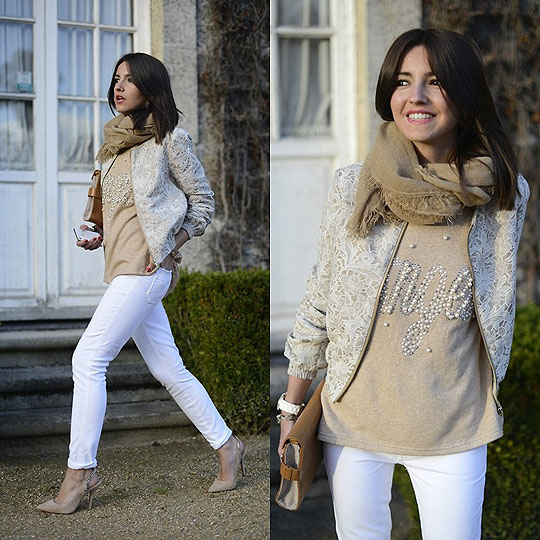 White & beige angel - Jacket, ASOS, Sweater, Weeken, Jeans, Weeken, Shoes, Zara, Clutch, Zara, Alexandra Per, Spain