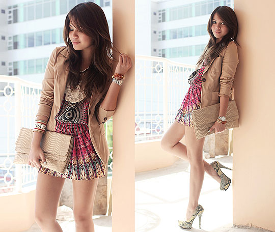In This City - Boho lose dress, Weeken, Beige blazer, Weeken, Snake skin pumps, Weeken, Gold cuff, Weeken, Cheyser Pedregosa, Philippines
