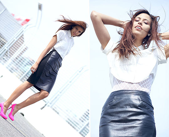 Montreal's Morning - Leather skirt, Weeken, Pumps, Weeken, Estate necklace, Weeken, Crop silk blouse, Weeken, Diamond grid bodysuit, American Apparel, Crystal Yeoms