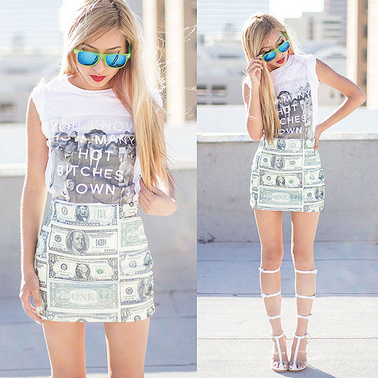 Got money on my skirt - Us dollar skirt, Weeken, Hot bitches tee, Weeken, Lavish caged sandals, Weeken, Dominique N., United States